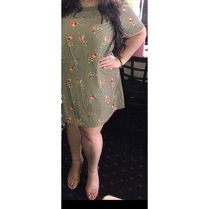 Green floral shift dress